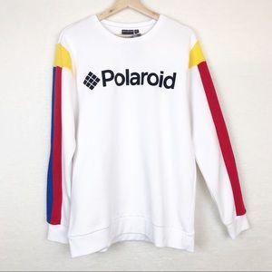 Polaroid White Crewneck w/Red Yellow Blue Sleeve